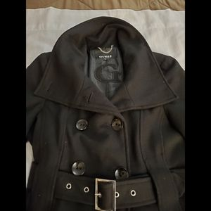 Guess Medium Black Double Breasted Wool Coat